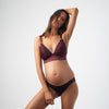 PROJECTME HOTMILK AMBITION TRIANGLE PLUM CONTOUR PREGNANCY NURSING BREASTFEEDING BRA - WIREFREE WITH AMBITION BRAZILIAN BIKINI BRIEF IN BLACK