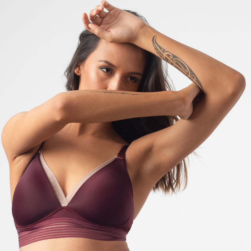 PROJECTME HOTMILK AMBITION TRIANGLE PLUM CONTOUR PREGNANCY NURSING BREASTFEEDING BRA - WIREFREE
