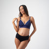 PROJECTME AMBITION TRIANGLE TANZANITE CONTOUR NURSING AND PREGNANCY BRA- WIREFREE AND AMBITION HIGH WAISTED BRIEF BLACK