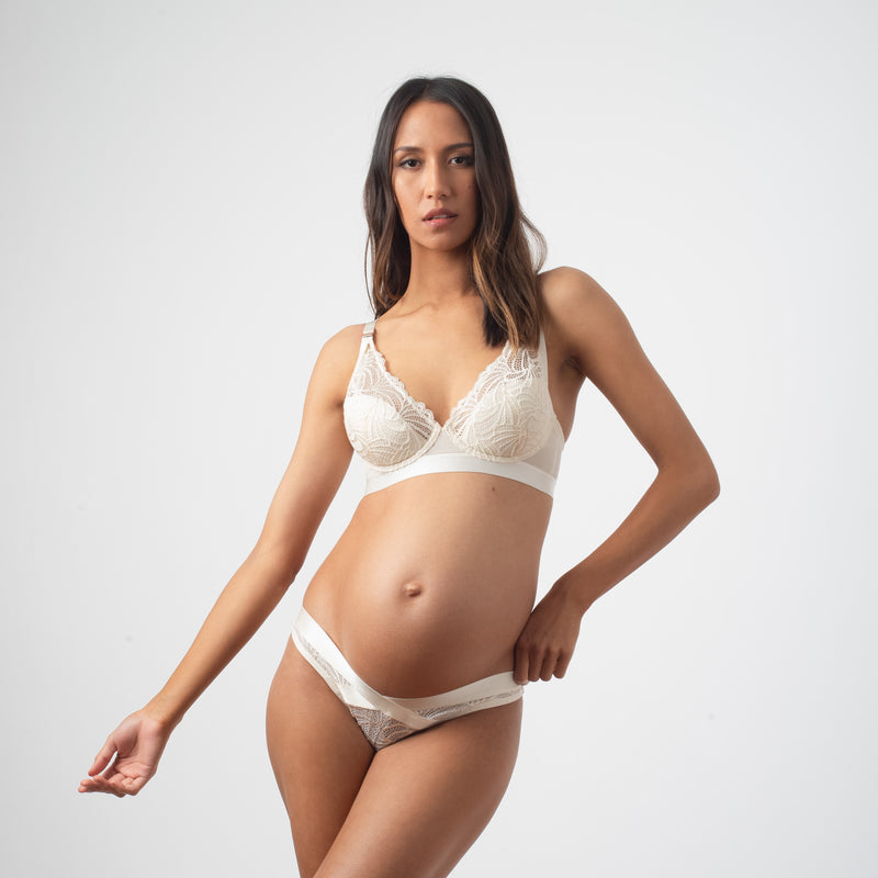 PROJECTME WARRIOR PLUNGE IVORY CONTOUR NURSING BRA - FLEXI UNDERWIRE WITH WARRIOR IVORY BIKINI