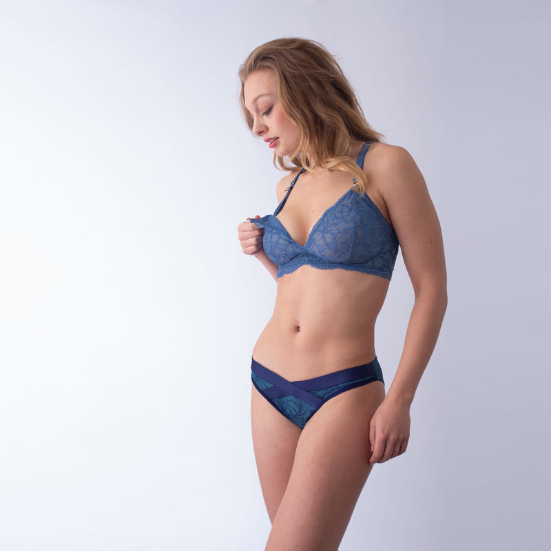 heroine powder blue plunge projectme nursing and maternity bra