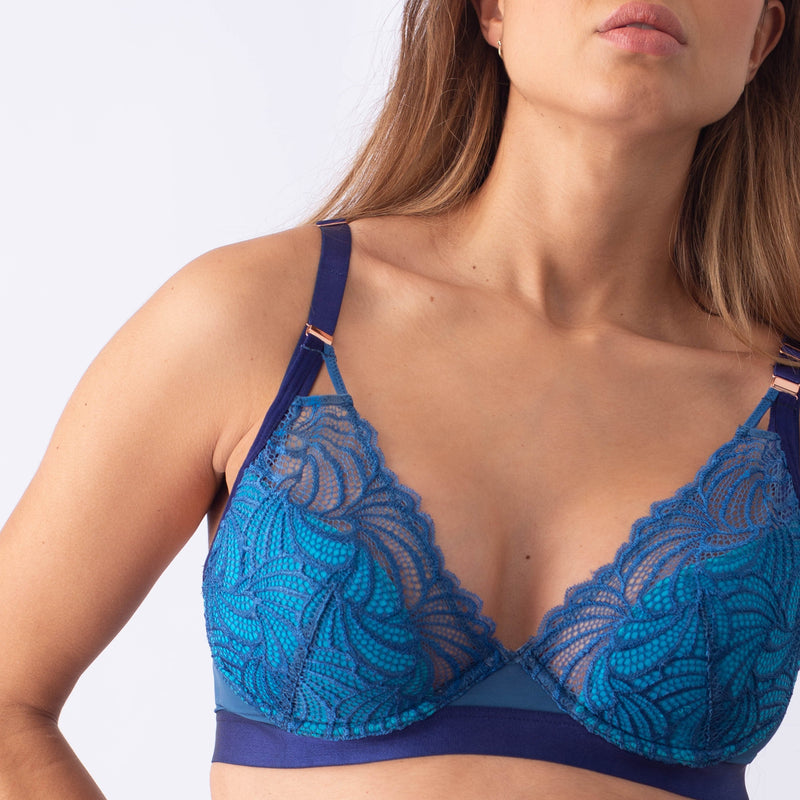 PROJECTME WARRIOR PLUNGE POWDER BLUE CONTOUR NURSING BREASTFEEDING PREGNANCY BRA - FLEXI UNDERWIRE