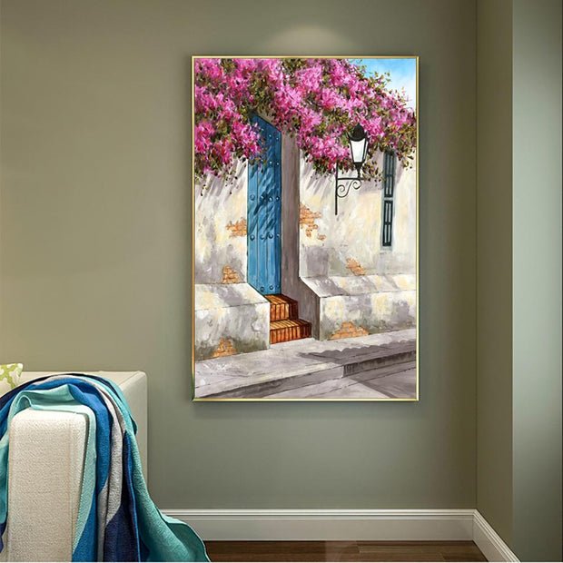 Flowers Upon a Wall in the Afternoon Wall Art on Canvas | Landscape Garden Oil Painting - le d'ARTe