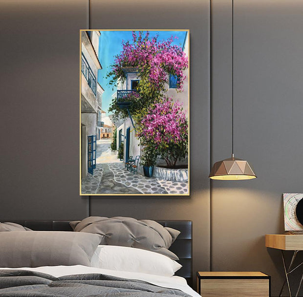 Afternoon Street Scene in the Mediterranean Oil Painting | Hand Painted Wall Art - le d'ARTe