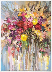 Flowers with Warm Colors Oil Abstract Wall Art | Canvas Painting - le d'ARTe