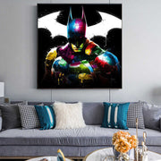 Batman Canvas Painting | Super Hero Portrait | Comics Characters Acrylic Wall Art - le d'Arte - hand painted artwork modern original
