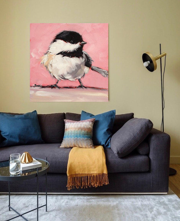 Bird Oil Painting on Canvas | Hand Painted Sparrow Artwork - le d'Arte - hand painted artwork modern original