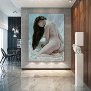 Beautiful Nude Chinese Woman Oil Wall Art | Canvas Painting - le d'Arte - hand painted artwork modern original