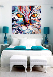 Cat Oil Painting on Canvas | Hand Painted Cat Wall Art - le d'ARTe