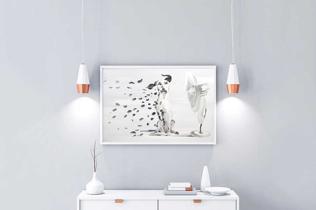 Dalmatian Oil Painting on Canvas | Hand Painted Spotted Dog Blowing Fan Wall Art - le d'Arte - hand painted artwork modern original