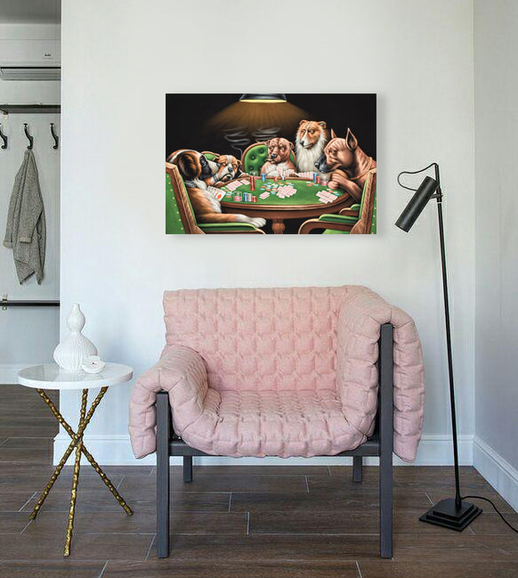 Dogs Playing Poker Oil Painting on Canvas | Hand-painted Dog Gambling Artwork - le d'Arte - hand painted artwork modern original