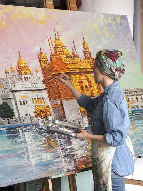 Golden Temple Canvas Painting | Harmandir Sahib | India Amritsar Wall Art - le d'Arte - hand painted artwork modern original