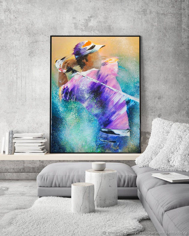 Golf Man Painting on Canvas | Hand Painted Playing Golf Pop Art - le d'Arte - hand painted artwork modern original