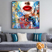 Graffiti Face Painting on Canvas | Hand Painted Woman Lips Pop Art - le d'Arte - hand painted artwork modern original