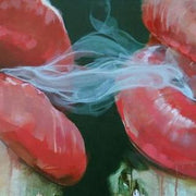 Two Lips Smoking Oil Painting | Wall Art Canvas - le d'Arte - hand painted artwork modern original