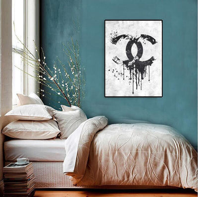 Chanel Painting | Palette Knife Painting Chanel Logo | Coco Chanel Poster Decor | Modern Fashion Wall Art - le d'ARTe