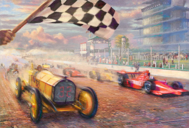 * Race Car Painting on Canvas | Hand Painted Racing Car Wall Art - le d'Arte - hand painted artwork modern original