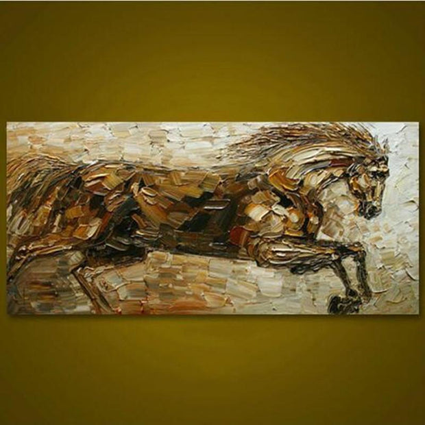 Struggling Horse Hand Painted Animal Oil Painting | Wall Art on Canvas - le d'ARTe