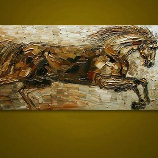 Struggling Horse Hand Painted Animal Oil Painting | Wall Art on Canvas - le d'Arte - hand painted artwork modern original