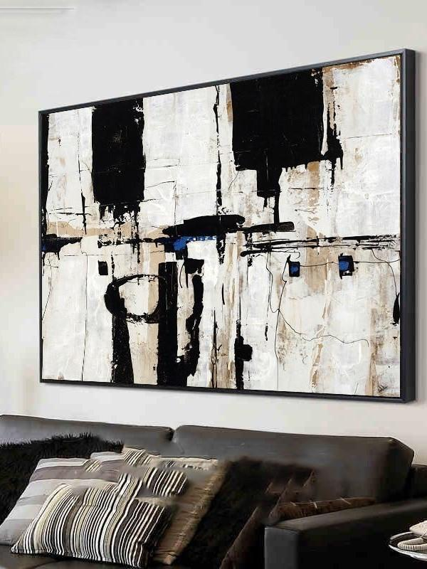 Thick Knife Abstract Black and White Blocks Oil Wall Art | Canvas Painting - le d'Arte - hand painted artwork modern original
