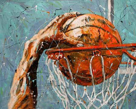Slam Dunk Oil Wall Art | Basketball Painting on Canvas - le d'Arte - hand painted artwork modern original