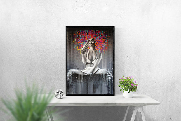 Lady with Colorful Hair Acrylic Painting on Canvas | Graffiti | Pop Art Wall Art - le d'Arte - hand painted artwork modern original