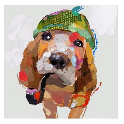 Smoking Dog Modern Wall Art | Canvas Oil Painting - le d'ARTe