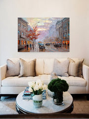 London Street Painting on Canvas | Hand Painted Landscape Wall Art - le d'Arte - hand painted artwork modern original