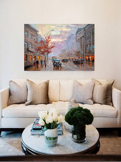 London Street Painting on Canvas | Hand Painted Landscape Wall Art - le d'ARTe