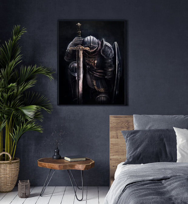 Medieval Knight Portrait Oil Painting on Canvas | Hand Painted Knight Wall Art - le d'Arte - hand painted artwork modern original