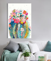 Modern Flower Cactus Acrylic Painting on Canvas | Abstract Cactus Wall Art - le d'Arte - hand painted artwork modern original