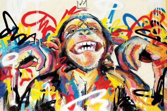 Fine Art Funny Monkey King Graffiti Animal Oil Wall Art | Painting on Canvas - le d'ARTe