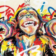Fine Art Funny Monkey King Graffiti Animal Oil Wall Art | Painting on Canvas - le d'Arte - hand painted artwork modern original