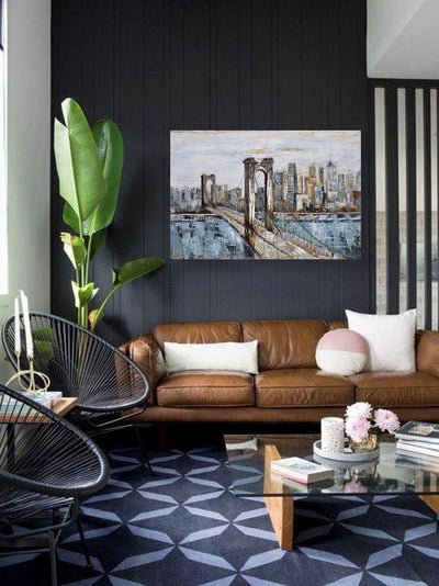 New York Brooklyn Bridge Canvas Painting | Landscape Hand Painted Acrylic Wall Art - le d'Arte - hand painted artwork modern original