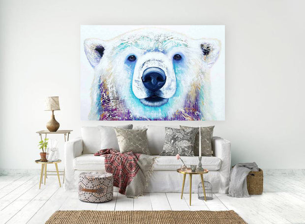 Polar Bear Acrylic Painting on Canvas | Hand Painted White Bear Wall Art - le d'Arte - hand painted artwork modern original