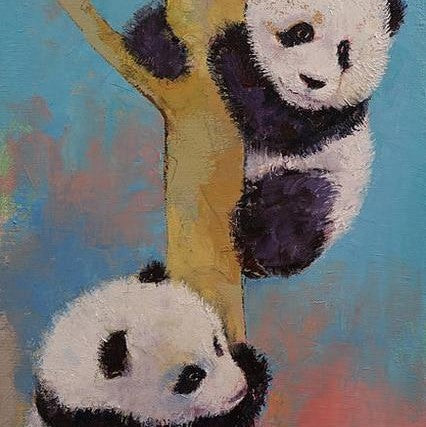 Cute Panda Canvas Painting | Animal Wall Art - le d'ARTe