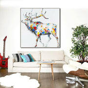 * Reindeer Painting Fine Art | Abstract Animal Oil Painting | Stag Canvas Painting Pop Art | Deer Wall Art on Canvas Colorful Painting - le d'Arte - hand painted artwork modern original