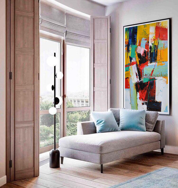 Rich Colors Abstract Painting on Canvas | Hand Painted Abstract Artwork - le d'Arte - hand painted artwork modern original