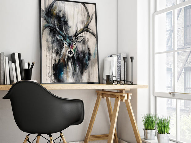 Reindeer Painting Fine Art | Abstract Animal Oil Painting | Black Stag Canvas Painting Pop Art  | Wall Art on Canvas Colorful Painting - le d'Arte - hand painted artwork modern original