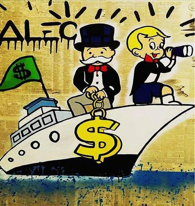 Fine Wall Art Rich Man Moneybags | Oil Painting on Canvas - le d'ARTe