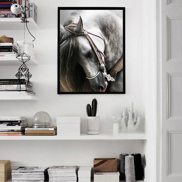 * White Horse Painting | Impressionist Animal Oil Painting | Arabian Equestrian Wall Art on Canvas | Gift for Horse Lover | Horse Portrait | Horse Artwork - le d'ARTe