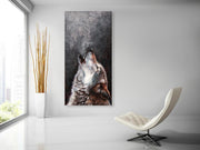 Wolf Oil Painting on Canvas | Wolf Howl Hand Painted Wall Art - le d'Arte - hand painted artwork modern original