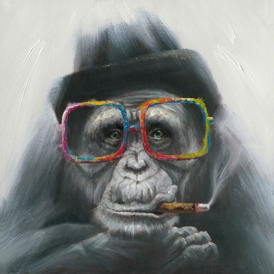Smoking Monkey Oil Painting on Canvas | Hand Painted Gorilla Pop Art - le d'Arte - hand painted artwork modern original