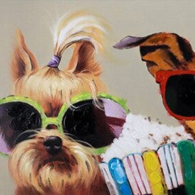 Funny Dog Oil Painting on Canvas | Yorkshire Terrier Wall Art - le d'Arte - hand painted artwork modern original
