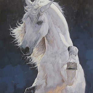 White Horse Oil Painting on Canvas | Hand Painted Equestrian Wall Art - le d'Arte - hand painted artwork modern original