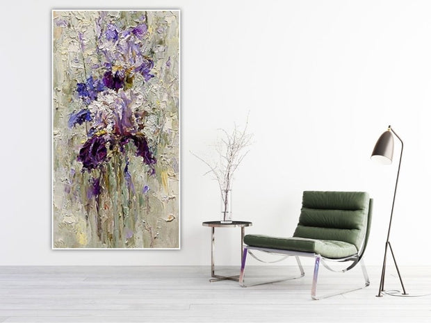 Bold Violet Wall Art | Thick Flower Artwork | Canvas Painting - le d'Arte - hand painted artwork modern original