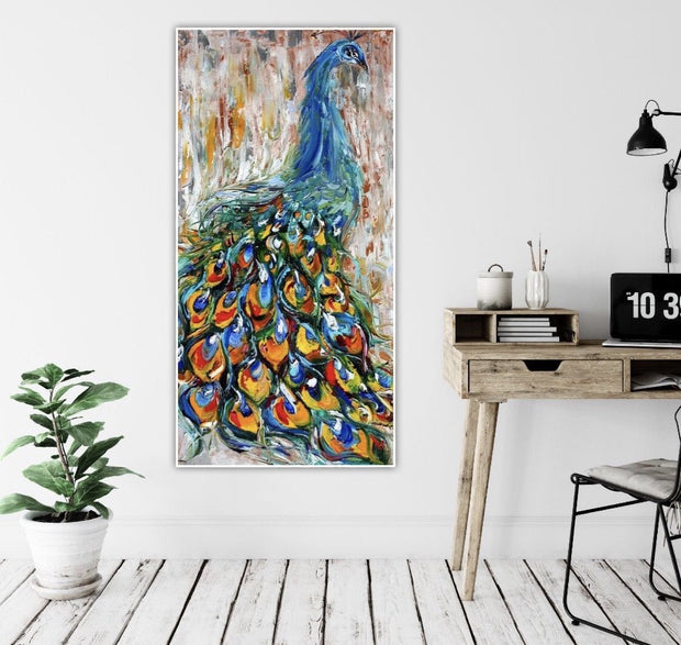 Elegant Colorful Peacock Oil Painting | Canvas Wall Art - le d'Arte - hand painted artwork modern original