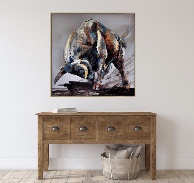 Bull Annimal Oil Painting | Canvas Wall Art - le d'Arte - hand painted artwork modern original