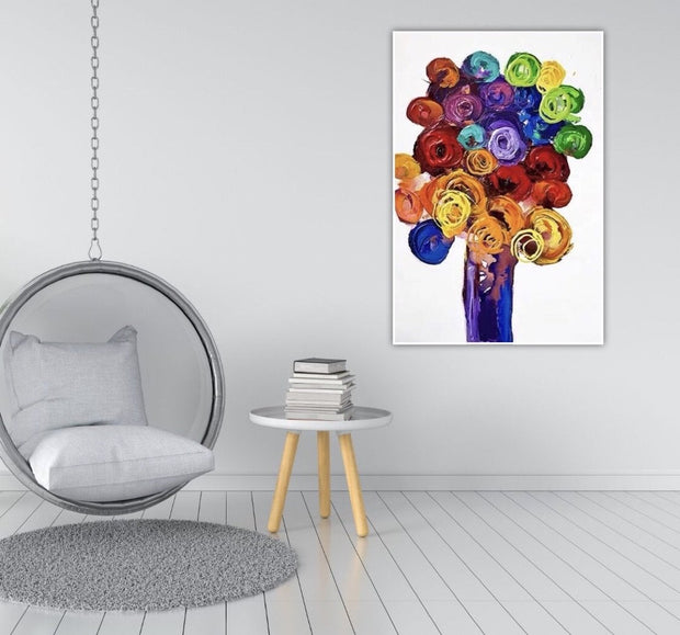 Colorful Kinfe Flower in Vase Painting | Oil Wall Art on Canvas - le d'ARTe