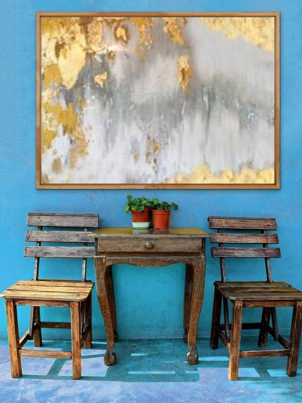 Luxury Gold Foil Oil Painting on Canvas | Abstract Wall Art - le d'Arte - hand painted artwork modern original